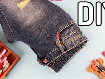 DIY - jeansy obszyte muliną