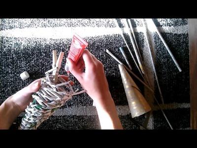 Ozdoby świąteczne Diy#4 Choinka z papierowej wikliny