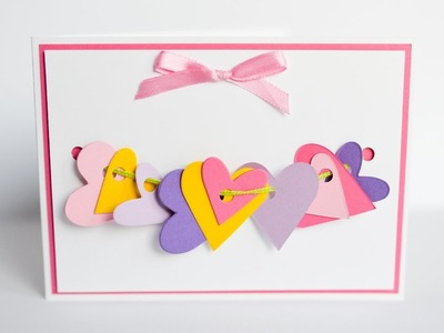 How to Make - Greeting Card Valentine's Day Hearts - Step by Step DIY | Kartka Walentynkowa