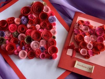 Jak zrobić Kartkę Walentynkową - Serce z papierowych zawijasów
