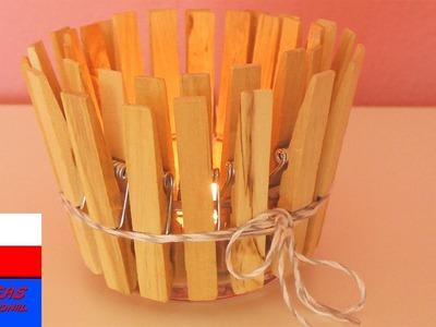 Drewniany lampion | prosty pomysł a jesień | klamerki do prania