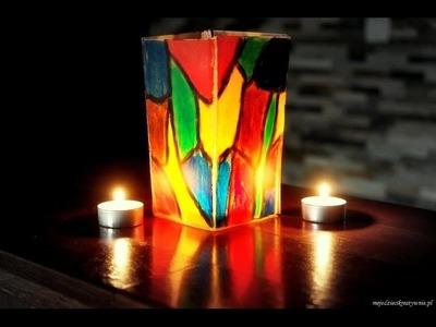 Lampion z makaronu Lasagne prace plastyczne dla dzieci , lampion adwentowy, roraty, lantern.