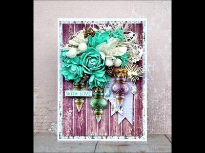 Christmas card - tutorial scrapbooking. Kartka świąteczna z kwiatami z foamiranu