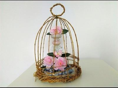 DIY dekoracyjna klatka zrobiona z wierzby