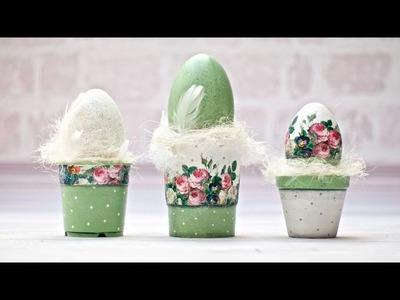 Decoupage krok po kroku - jajka w doniczkach - tutorial DIY