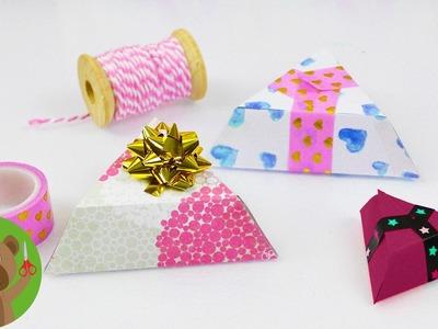 DIY pudełko na prezent | proste trójkątne pudełko z kolorowego papieru | origami