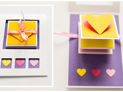How to Make - Pop Up Greeting Card Valentine's Day Hearts - Step by Step DIY | Kartka Walentynkowa