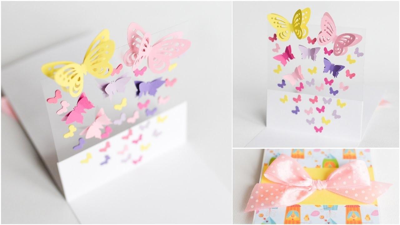 How to Make - Greeting Card Pop Up Butterflies - Step by Step DIY | Kartka Okolicznościowa Motyle