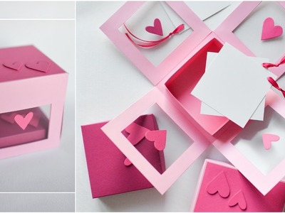 How to Make - Transparent Exploding Box Hearts - Step by Step DIY | Eksplodujące Pudełko Serca