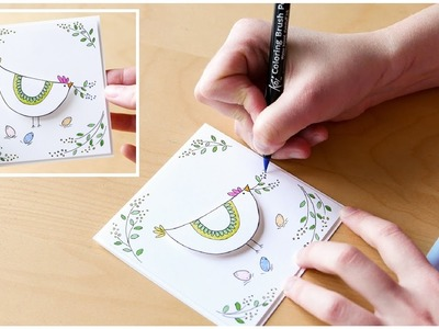 How to Make - Easter Greeting Card Brush Pen Hen  - Step by Step DIY | Kartka Wielkanocna Kura
