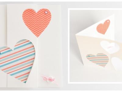 How to Make - Pop Up Greeting Card Valentine's Day Hearts - Step by Step DIY | Kartka Walentynkowa