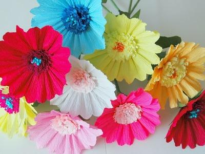 Kwiaty z bibuły gerbera krok po kroku # Paper flowers gerberas DIY