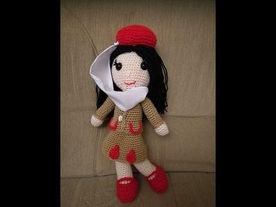 No 140# Lalka stewardessa na szydełku - Doll on crochet PART 3-3, amigurumi