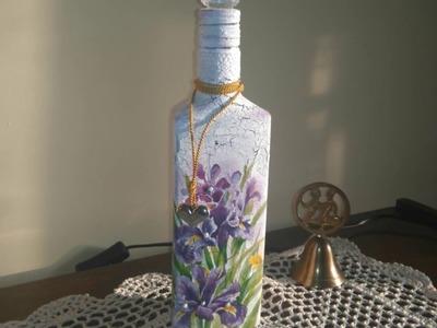 Decoupage- butelka z jednoskładnikowym spękaczem