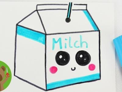 DIY kartonik mleka w technice Kawaii | obrazek na kartkę bądź laurkę | Malowanie & Rysowanie