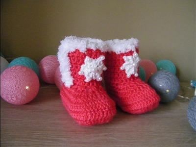 """No 74# Buciki na szydełku 6-9m-cy """" Boże Narodzenie"""" część 2.2- boots for baby 6-9 months Christmas"""