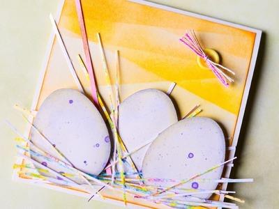 How to Make - Easter Card Eggs Inking Scrapbooking  - Step by Step DIY | Kartka Wielkanocna Pisanki