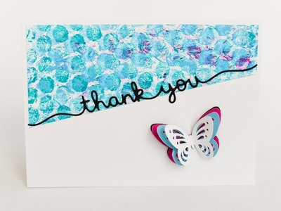 How to Make - Thank You Card Butterfly Bubble Wrap - Step by Step DIY | Kartka Podziękowanie