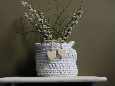 Koszyk ze sznurka bawełnianego na szydełku- jak zrobić. Basket crochet tutorial.