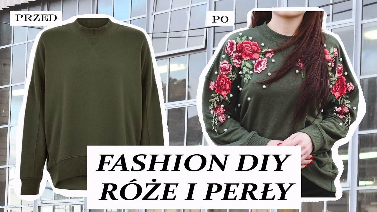 Modowe DIY Wyszywane kwiaty i perły - przeróbka swetra!