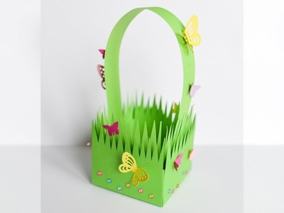 How to Make - Paper Grass Basket Easter Spring - Step by Step DIY | Papierowy Koszyk Wielkanoc