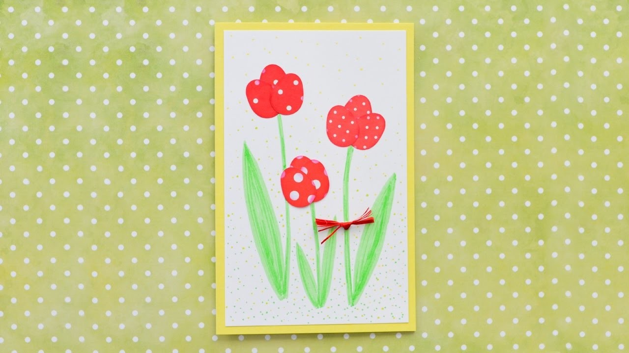 How to Make - Simple Greeting Card Mother's Day - Step by Step DIY | Kartka Dzień Matki