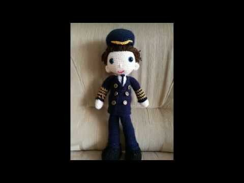 No 151# Lalka Kapitan na szydełku - Doll pilot on crochet PART 3.3 amigurumi
